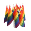 "10pk Hand Rainbow Flags 8.5"" by 5.5"""