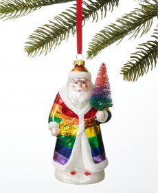 Holiday Lane Love Is Love Rainbow Santa Ornament
