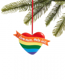 Holiday Lane Love is Love Love More Hate Less Heart Ornament