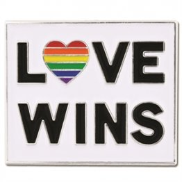 Love Wins w/ Rainbow Heart Lapel Pin