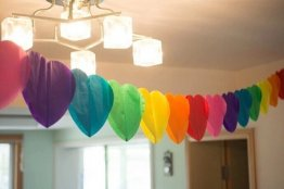 3m Rainbow Heart-Shaperd Party Garland Love Tissue Paper Garland