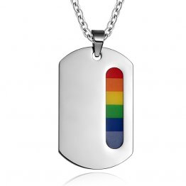 Rainbow Pride Dog Tag Pendant with 20 inch change