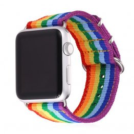 Apple Watch Band - LGBT Rainbow Design Nylon Fabric Replacement Band for Apple Watch 38mm/42mm