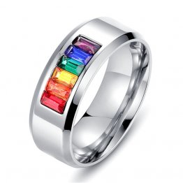 Titanium Stainless Steel Rainbow Crystal Ring