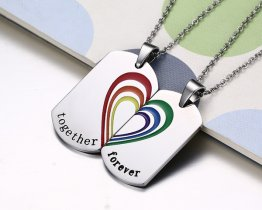 "2PCS  ""Together Forever"" Rainbow Heart Couples Stainless Steel Necklaces"