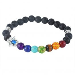Men's Black Lava Charka Healing Balanced Beaded Bracelet