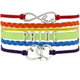 Rainbow Pride Double Heart Love Moon Infinity Charm Bracelets