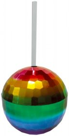 Rainbow Disco Ball Drink Cup With Straw