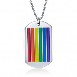 Titanium Stainless Steel Gay Pride Dog Tag w/ Chain