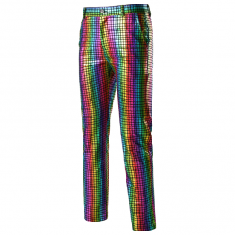 Rainbow Plaid Glitter Mens Pants