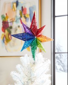 Christopher Radko Hand-Crafted European Glass Christmas Decorative Finial Tree Topper, Rainbow Stellar