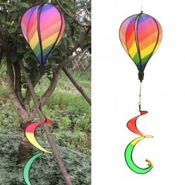 Rainbow Hot Air Balloon Windsock Colorful Wind Spinner Garden Home Decoration