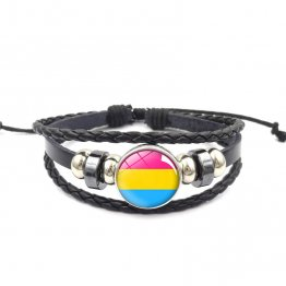 Handmade Weave Black Leather Pansexual bracelet