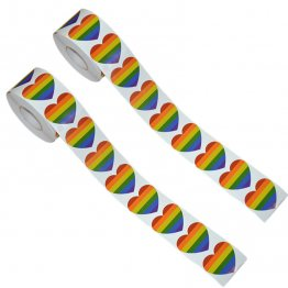 Roll of Rainbow Heart Stickers (500 Stickers)
