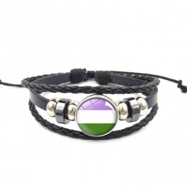 Handmade Weave Black Leather Queer bracelet