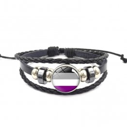 Handmade Weave Black Leather Asexual bracelet