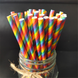 100PCS Rainbow Paper Straws