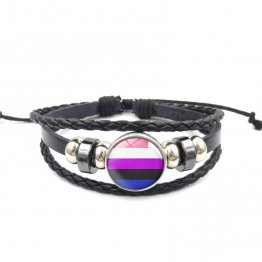 Handmade Weave Black Leather Genderfluid bracelet