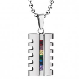Stainless Steel and Zircon Rainbow Pendant Statement Necklace