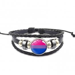 Handmade Weave Black Leather Bisexual bracelet