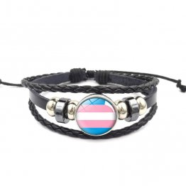 Handmade Weave Black Leather Transgender bracelet