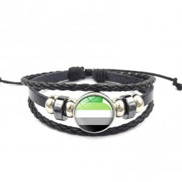 Handmade Weave Black Leather Aromantic bracelet