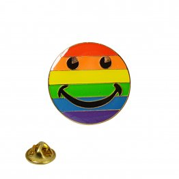 Rainbow Smilie Face Lapel Pin