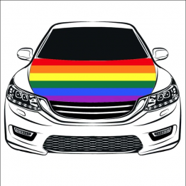 Rainbow Automobile Hood Cover with LGBT Rainbow Flag.
