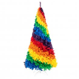 7ft Artificial Colorful Rainbow Full Fir Christmas Tree Holiday Seasonal Decoration w/ 1,213 Branch Tips, White Metal Stand