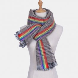 Handmade Rainbow & Plaid Winter Scarf