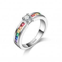 Sterling Silver Engagement Ring with Cubic Zirconia Rainbow