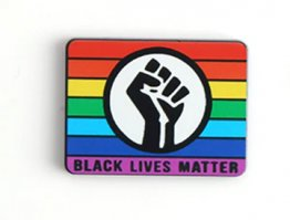 "BLM Black Lives Matter ""Fist of Solidarity"" with Rainbow Enamel Lapel Pin in Black"