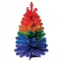 "Holiday Time Non-Lit Tinsel Artificial Christmas Tree, 24"", Rainbow Color"