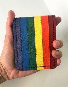 Handmade Rainbow Leather Bi-fold Wallet