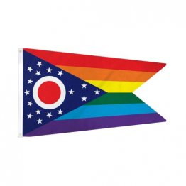 Ohio Rainbow - 3' x 5' Polyester  Flag w/Metal Grommets and a Cotton Heading