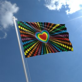 Rainbow Love Heart Flag - 3' x 5' Polyester Flag w/Metal Grommets and a Cotton Heading