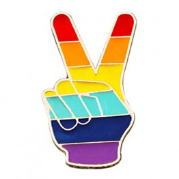 Retro Rainbow Gay Pride Peace Finger Sign Lapel Pin