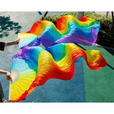 Handmade Rainbow 100% Real Silk Stage Performance Long Silk Veil Fan