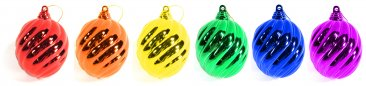 6Pk Rainbow Swirl Ornaments