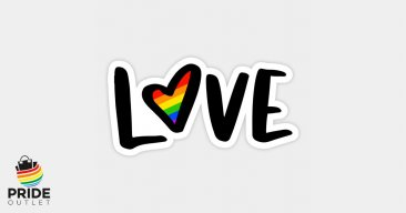 "PrideOutlet LOVE Rainbow Heart 4"" Inch Bumper Sticker"