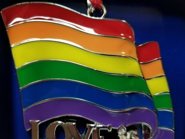 "Pride Regent Square Christmas Tree Ornament Rainbow Flag ""Love Is Love"""