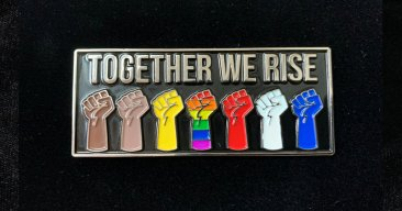 Together We Rise, Black Lives Matter BLM, Raised Fists Enamel Pin